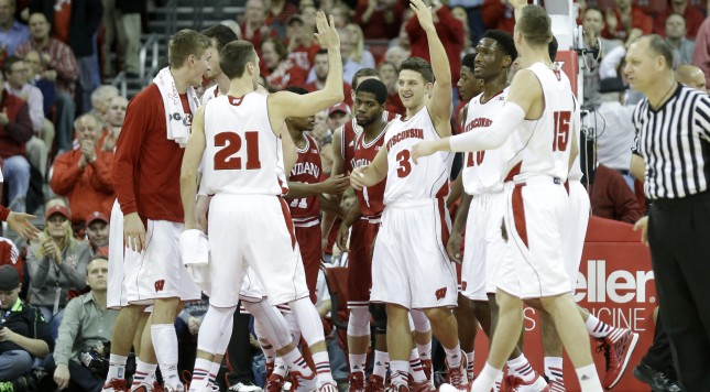 MADISON, WI - FEBRUARY 03:  Zak Showalter #3 of the the Wisconsin Badgers celebrates after drawing a foul during the second half against the Indiana Hoosiers at Kohl Center on February 03, 2015 in Madison, Wisconsin. (Photo by Mike McGinnis/Getty Images)