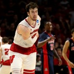 LOS ANGELES, CA - MARCH 28:  Frank Kaminsky #44 of the Wisconsin Badgers reacts in the second half while taking on the Arizona Wildcats during the West Regional Final of the 2015 NCAA Men's Basketball Tournament at Staples Center on March 28, 2015 in Los Angeles, California.  (Photo by Stephen Dunn/Getty Images)